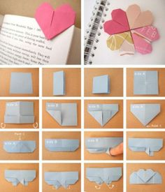 Photo Origami Heart Bookmarks.  Cute with a bible verse or poem.