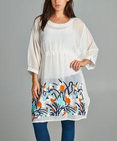 VELZERA White Floral Blouson Dress - Plus by VELZERA #zulily #zulilyfinds