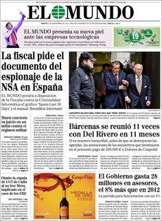 Los Titulares y Portadas de Noticias Destacadas Españolas del 5 de Noviembre de 2013 del Diario El Mundo ¿Que le pareció esta Portada de este Diario Español?
