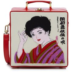 Olympia Le-Tan Kimono Lady 7 Inch Lunchbox Clutch (4.855 RON) ❤ liked on Polyvore featuring bags, handbags, clutches, purses, accessories, leather purses, clasp purse, embroidered handbags, leather handbags and top handle purse