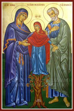 Calling all grandparents, abuelos, nonni's, 祖父母 and grands-parents! Ask for their intercession today! Saints Joachim and Ann - parents of the Blessed Virgin Mary and maternal grandparents of Jesus! Byzantine Icons, Byzantine Art, Blessed Mother Mary, Blessed Virgin Mary, Catholic Art, Catholic Saints, Patron Saints, Religious Icons, Religious Art