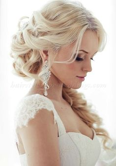 Love her earrings and her hair in the back...half up half down wedding hairstyles - half up hairstyle for brides