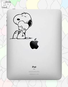 Snoopy Hugging Heart iPad Decal
