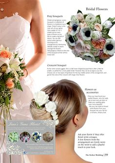 If you're still unsure about flower arrangements, page 39 of The Perfect Wedding is here to help Types Of Flowers, Bridal Flowers, Perfect Wedding, Flower Arrangements, Bouquets, One Shoulder Wedding Dress, Delicate, Bloom, Glamour