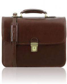 VERNAZZA TL141354 Leather briefcase with Laptop compartment 3 compartments Leather  Laptop Case a7cedfbbc91a3