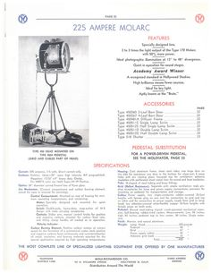 Type - MR 450 by Mole-Richardson Co., via Flickr    http://www.mole.com    #mole #molerichardson #molelighting #lighting #arri #cinematography #lights #arc #molarc #amp #ampere #electric #electrical
