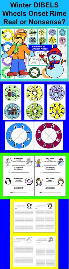 $3.00 Winter Blending DIBELS Build A Word Wheels – Set 1 – Different Ways To Use and Record – 63 Different Combinations of Wheels, so you can make 63 Word Builder Wheels with this set!  - Includes 4 Word Builder Awards and 8 Recording Sheets –  Great for Differentiating Word Building Practice with your students -  7 inner wheels and 9 outer wheels as described below.