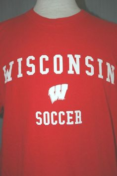 University of Wisconsin Soccer Adult Large Red T-Shirt (L NCAA Champs Champions) #RivalMadness