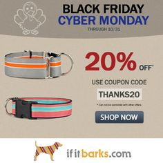 Our Black Friday / Cyber Monday sale is here! Take off your entire If It Barks dog collar / leash order! Custom Dog Collars, Handmade Dog Collars, Dog Collars & Leashes, Designer Dog Collars, Collar And Leash, Cyber Monday, Black Friday, Printing On Fabric, Shop Now