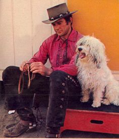 """James Stacy takes a break between scenes of his """"Lancer"""" TV series in which he starred as Johnny Madrid (Lancer). February, 1969."""
