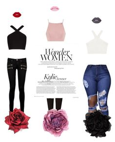 """""""Wonder Women"""" by missannikab on Polyvore featuring Paige Denim, BCBGMAXAZRIA, Lime Crime, Boohoo, Chi Chi, Gucci, Lanvin and girlsnightout"""