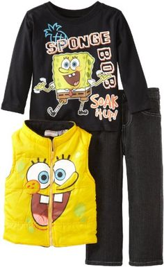 06f25e5851 Nickelodeon Little Boys  SpongeBob 3 Piece Comfort Vest Pullover And Pant