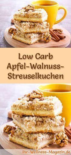 Rezept für Low Carb Apfel-Walnuss-Streuselkuchen: Der kohlenhydratarme, kalorienreduzierte Kuchen wird ohne Zucker und Getreidemehl zubereitet ... #lowcarb #kuchen #backen