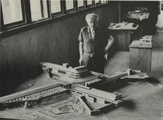Frank Lloyd Wright with the MoMA exhibition model of Wingspread at Taliesin, Spring Green, Wisconsin