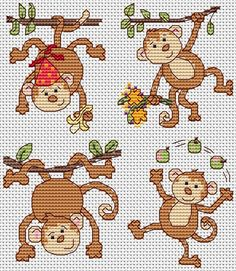 Monkey cross stitch designs by Jenny Barton.http://www.jbcrossstitch.com/animals-and-birds/325-monkey-business-cross-stitch-chart-download.html