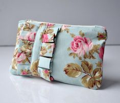 English rose ruffle mini coin purse