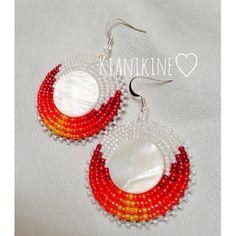 Native American Beaded Earrings Shell set by KianiKine on Etsy, $20.00
