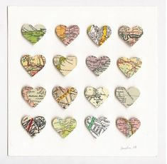 great gift idea: If I can grab Mom's old atlas when I'm home for her birthday weekend, I could do this for a Mother's Day gift! Have 7 hearts in a frame, with the location of where each of her kids live now, since we're spreading out more :)