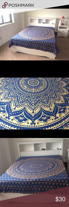 """❤💝Blue gold bed wall spread boho home decir💝💥 Make an offer to get good deals! 😃🎊🎁💰  😎Brand new.Handmade with natural dyes.   🤔Uses: bed spread, couch spread, curtains, wallhangings, Celling decor, beach mat, picnic mat, table cloth, 🕉 yoga & 🙏🏻meditation, dorm room decor, kid's play area spread & spiritual decor.   📐Size: 90"""" X 84"""" inch ( Queen bed)   🎀Material;💯% Cotton  🚿Wash: cold wash  💌➡️Website: http://www.rhyayfashion.com Sweaters Cardigan"""