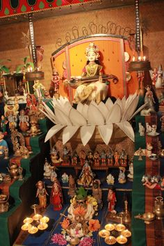 Goddess Saraswathi, the star attraction in the doll arrangement. Diwali Decorations, Stage Decorations, Festival Decorations, Diy Backdrop, Backdrops, Saraswati Goddess, Durga, Saraswathi Pooja, Ganpati Decoration At Home
