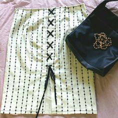"New- Nanette Lepore Lace-up Back Skirt Side zip hook. Never worn. Lined. Waist 15.5 "" Hips 19 "" Length 22 "".  98 % Cotton & 2 % Lycra Nanette Lepore Skirts Pencil"
