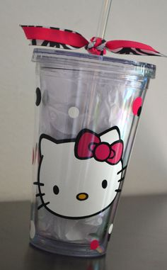 Hello Kitty Custom Double Insulated Tumbler by MakeitStickDesigns, $12.00