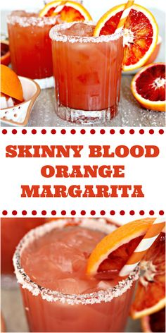 It's margarita season, which usually means my calorie intake due to having drinks on the patio is likely to be high.I'll be enjoying this Skinny Blood Orange Margarita Recipe this year and leaving calorie counting to someone else! Blood Orange Cocktail, Blood Orange Margarita, Blood Orange Drink, Beste Cocktails, Orange Recipes, Alcohol Recipes, Yummy Drinks, Clean Eating Snacks, Cocktail Recipes