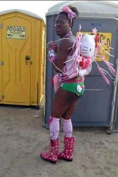 """While this person is ghetto fabulous in Hello Kitty overload, I'm more freaked out that the port-a-potties are called """"Pot-O-Gold"""" --Walmart Called. More of Your Photos Are Ready. (21 pics) 