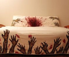 Zombie Sheets. This would go hilariously well with the player 1/player 2 headboard area painting idea.