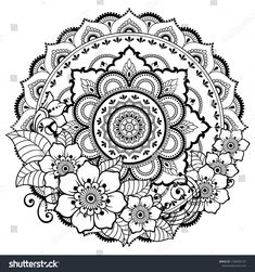 Circular pattern in form of mandala with flower for Henna Mehndi tattoo decoration. Decorative ornament in ethnic oriental style. Coloring book page. Mandala Dots, Mandala Pattern, Mandala Design, Sunflower Coloring Pages, Mandala Coloring Pages, Flower Henna, Flower Mandala, Mehndi Tattoo, Henna Mehndi