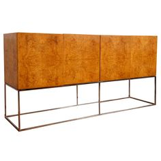 Burl and chrome floating  sideboard by Milo Baughman | From a unique collection of antique and modern sideboards at https://www.1stdibs.com/furniture/storage-case-pieces/sideboards/