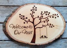Welcome to our Nest, Wood burned sign with blossom tree and love birds, unique housewarming gift, newlyweds Wood Burning Crafts, Wood Burning Patterns, Wood Burning Art, Wood Burning Stencils, Wood Burned Signs, Wood Signs, Wood Projects, Woodworking Projects, Woodworking Lathe