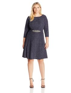Eliza J Women s Plus Size Fit and Flare Dress with Beaded Detail At Waist    You 9330e17f3811