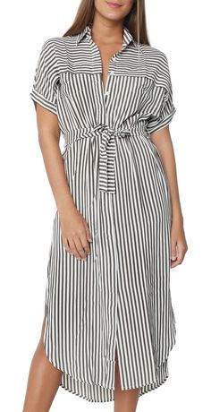 ECOWISH Womens Striped Button Down Bohemian Spaghetti Floral Dress Tie Waist Sleeveless Swing Midi Dress - Midi Dresses - Ideas of Midi Dresses Cheap Dresses, Women's Dresses, Casual Dresses, Summer Dresses, Simple Dresses, Dress Outfits, Vertical Striped Dress, Striped Midi Dress, Tie Dress