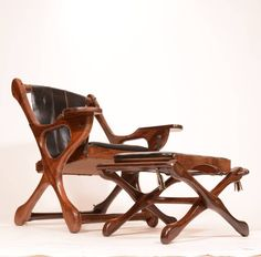 """Don Shoemaker Rosewood Sling """"Swinger"""" Chair and Ottoman 