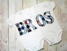 Twin Matching BROS Bodysuits for Twin Boys  by RightUpYourAli1, $50.00