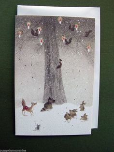"23 Unused ""Lighting The Tree"" Xmas Greeting Card Squirrels Rabbits Mouse 