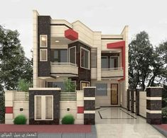 The exterior is the face of the house that everyone will see in the first part. Take a look at the world's most beautiful modern homes and find Front Wall Design, Exterior Wall Design, Facade Design, Bungalow House Design, Modern House Design, Bungalow Interiors, Duplex House, Beautiful Modern Homes, Model House Plan
