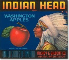 Wenatchee Okanogan Washington State Red Head Apple Fruit Crate Label Art Print