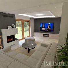 kominek w salonie, duży salon, sodffa rogowa Flat Screen, House Design, Flooring, Living Room, Interior, Home, Blood Plasma, Indoor, Ad Home