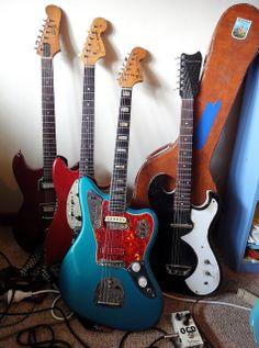 ragged Jag / 63 Guild Polara / 66 Mustang / 60s Silvertone | via Harvester Guitars