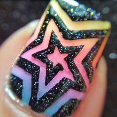 Our Star Swirl Nail Vinyl is a truly exciting and unique design. Outside Stencils included with each nail vinyl can create an additional Star Swirl design. Crazy Nail Art, Crazy Nails, Fancy Nails, Cool Nail Art, Cute Nails, Pretty Nails, Nail Polish Designs, Acrylic Nail Designs, Acrylic Nails