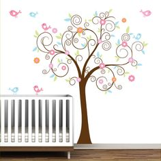 Swirl Tree Decal Vinyl Wall Decals with Birds Flowers Nursery Wall Art on Etsy, $99.00