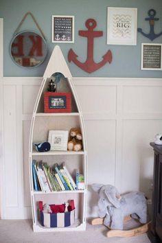 5 foot blue row Bookshelf Bookcase shelves skiff schooner canoe nautical Dorey kids room wooden boat shelf Beach decor Photo propp Nursery – Liam K. Baby Boy Rooms, Baby Boy Nurseries, Baby Room, Baby Cribs, Kids Rooms, Girl Room, Nursery Themes, Nursery Room, Nursery Ideas