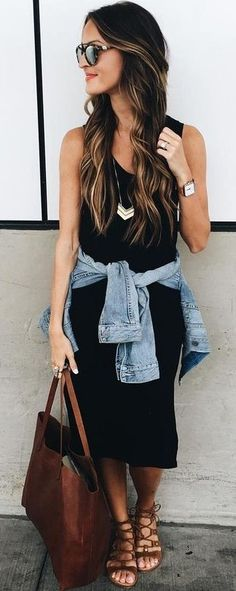 55 Trending American Style Outfit Ideas For Ending Your Summer Midi Black Dress + Denim Jacket Florida Outfits, Mexico Vacation Outfits, Black Dress Outfits, Black Midi Dress, Spring Summer Fashion, Spring Outfits, Autumn Fashion, Denim Jacket With Dress, Frack