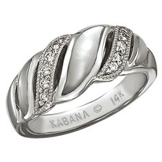 Kabana 14k White Gold Ring with Inlaid White Mother of Pearl and Ten Diamonds