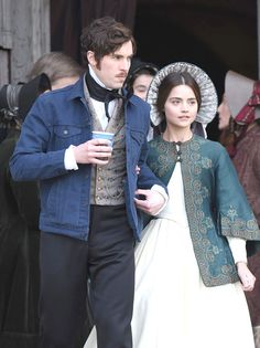 Jenna Coleman and Tom Hughes films scenes for Victoria season 2
