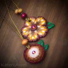Polymer Clay Fall Flower Necklaces by KatersAcres
