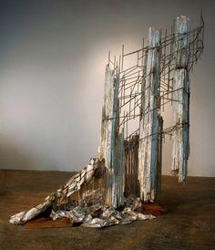 Diana Al-Hadid - Actor 2009   steel, wood, polystyrene, plaster, polymer gypsum, fiberglass, aluminum foil, silverleaf, paint   84 x 44 x 90 in.