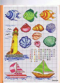 Borduurpatroon: Vuurtoren, zeilbootjes, schelpen en vissen.